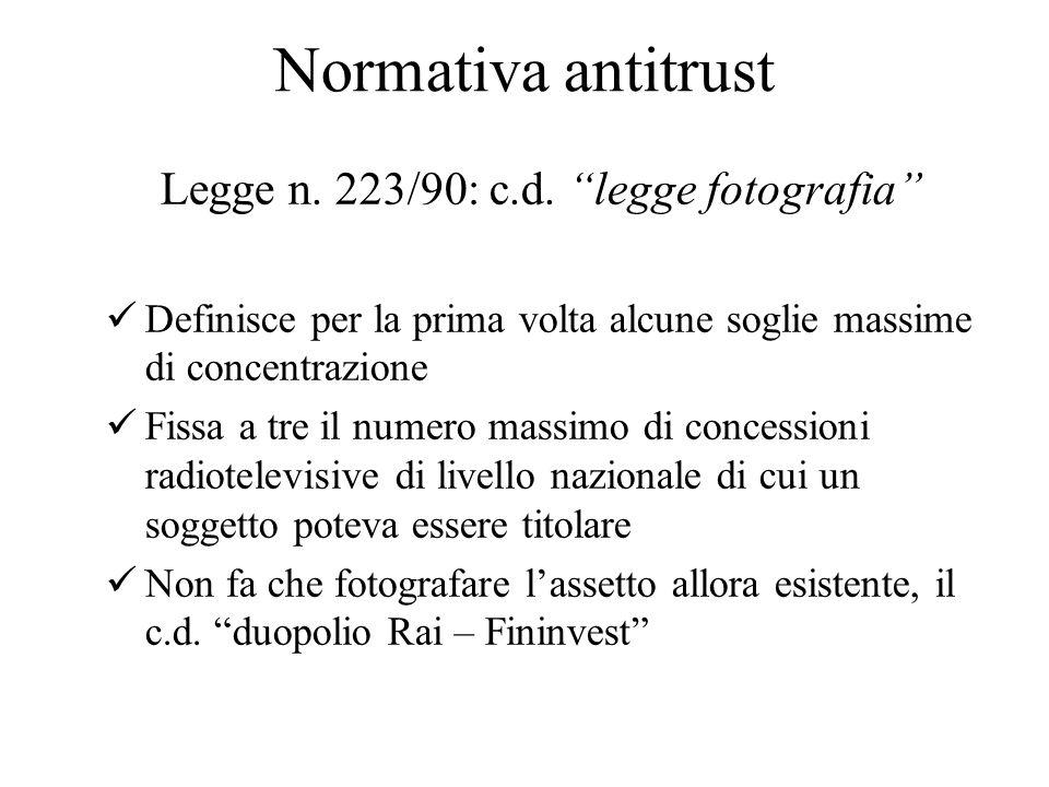 Normativa antitrust Legge n. 223/90: c.d.