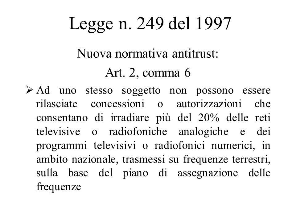 Legge n. 249 del 1997 Nuova normativa antitrust: Art.