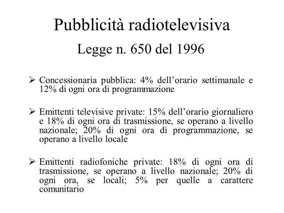 Pubblicità radiotelevisiva Legge n.