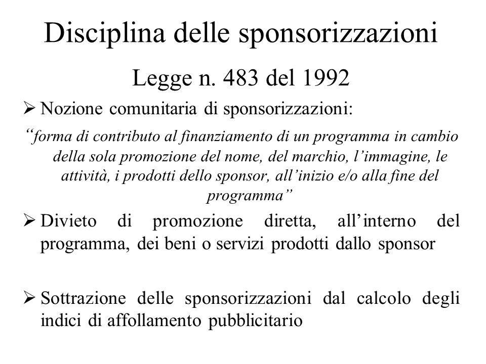 Disciplina delle sponsorizzazioni Legge n.