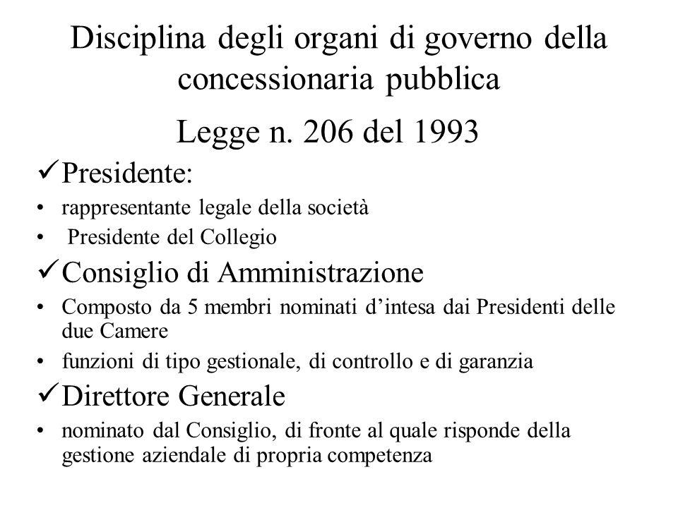 Disciplina degli organi di governo della concessionaria pubblica Legge n.