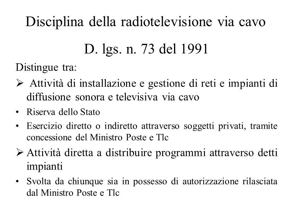 Disciplina della radiotelevisione via cavo D. lgs.