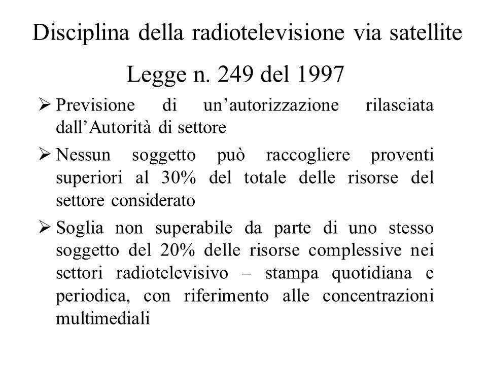 Disciplina della radiotelevisione via satellite Legge n.