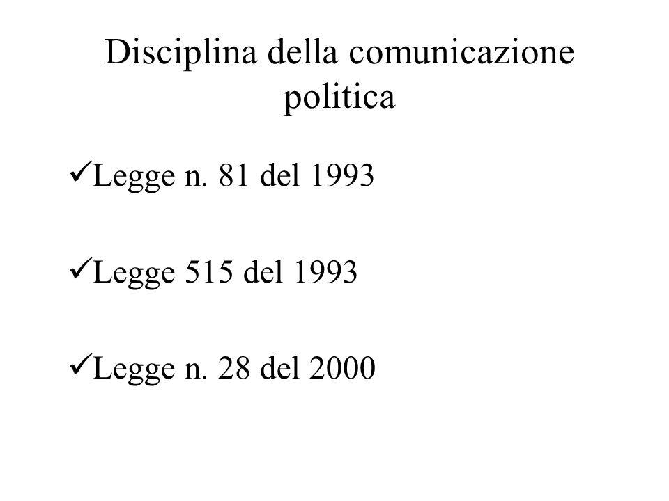 Disciplina della comunicazione politica Legge n. 81 del 1993 Legge 515 del 1993 Legge n.
