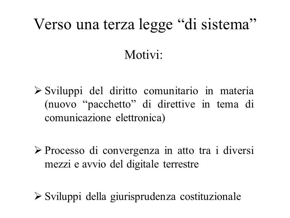Verso una terza legge di sistema Motivi:  Sviluppi del diritto comunitario in materia (nuovo pacchetto di direttive in tema di comunicazione elettronica)  Processo di convergenza in atto tra i diversi mezzi e avvio del digitale terrestre  Sviluppi della giurisprudenza costituzionale