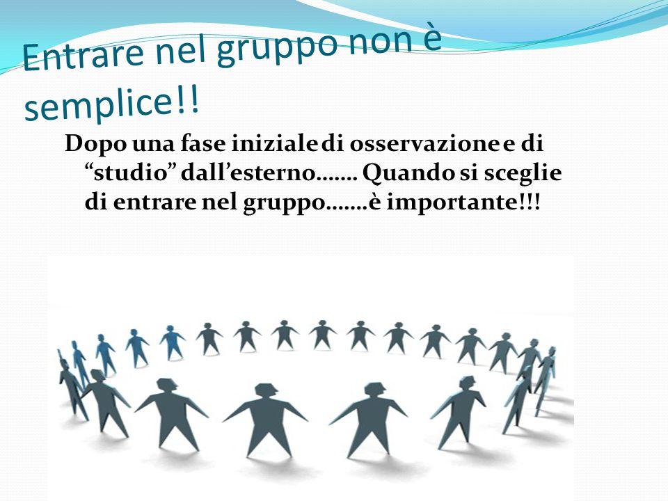 """Entrare nel gruppo non è semplice!! Dopo una fase iniziale di osservazione e di """"studio"""" dall'esterno……. Quando si sceglie di entrare nel gruppo…….è i"""