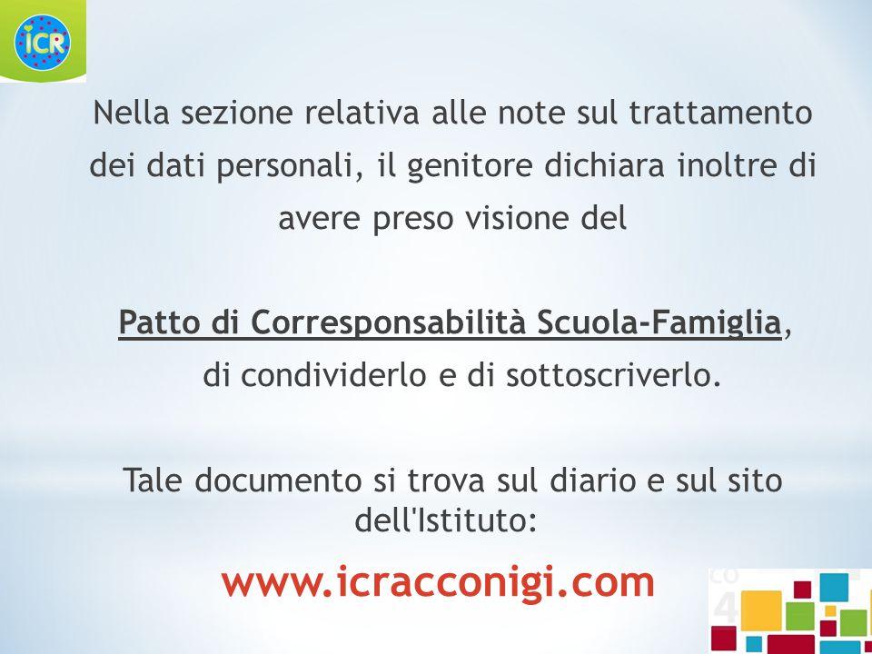 Nella sezione relativa alle note sul trattamento dei dati personali, il genitore dichiara inoltre di avere preso visione del Patto di Corresponsabilit