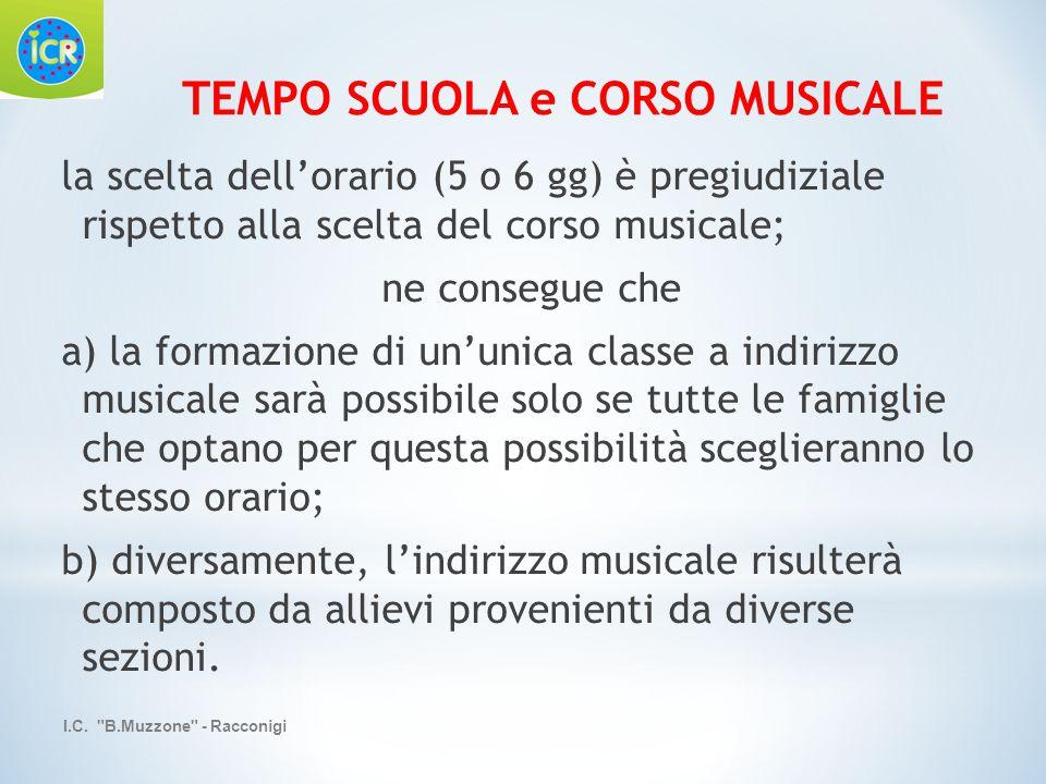 la scelta dell'orario (5 o 6 gg) è pregiudiziale rispetto alla scelta del corso musicale; ne consegue che a) la formazione di un'unica classe a indiri
