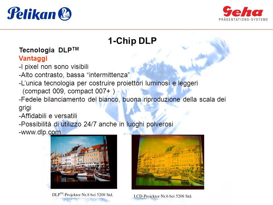 Tecnologia DLP TM Vantaggi -I pixel non sono visibili -Alto contrasto, bassa intermittenza -L'unica tecnologia per costruire proiettori luminosi e leggeri (compact 009, compact 007+ ) -Fedele bilanciamento del bianco, buona riproduzione della scala dei grigi -Affidabili e versatili -Possibilità di utilizzo 24/7 anche in luoghi polverosi -www.dlp.com 1-Chip DLP