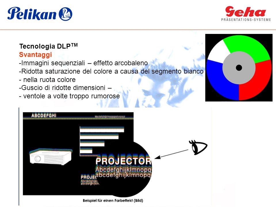 Tecnologia DLP TM Svantaggi -Immagini sequenziali – effetto arcobaleno -Ridotta saturazione del colore a causa del segmento bianco - nella ruota color