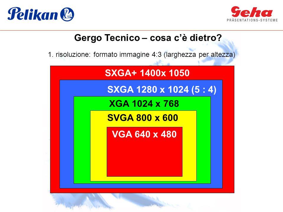 1. risoluzione: formato immagine 4:3 (larghezza per altezza) VGA 640 x 480 SVGA 800 x 600 XGA 1024 x 768 SXGA 1280 x 1024 (5 : 4) SXGA+ 1400x 1050 Ger