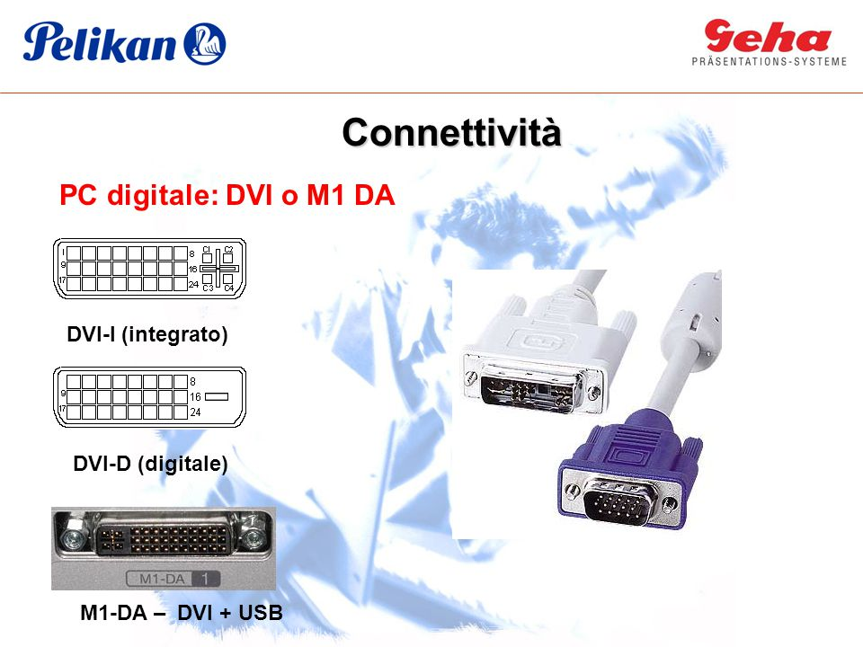 PC digitale: DVI o M1 DA DVI-I (integrato) DVI-D (digitale) M1-DA – DVI + USB Connettività