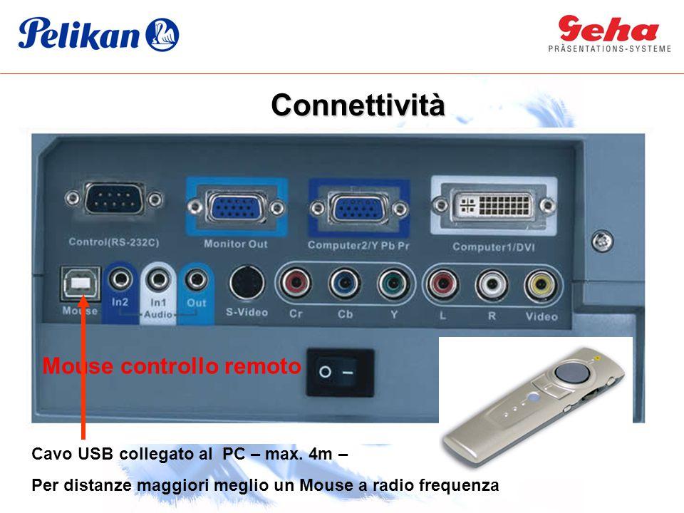 Mouse controllo remoto Cavo USB collegato al PC – max. 4m – Per distanze maggiori meglio un Mouse a radio frequenza Connettività