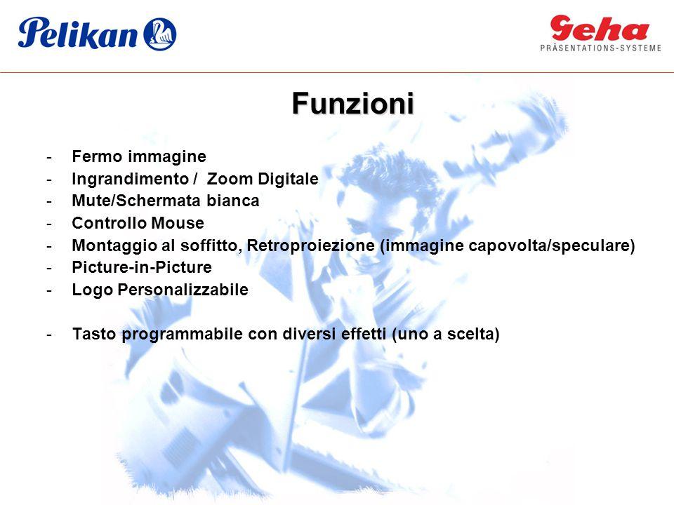 -Fermo immagine -Ingrandimento / Zoom Digitale -Mute/Schermata bianca -Controllo Mouse -Montaggio al soffitto, Retroproiezione (immagine capovolta/spe
