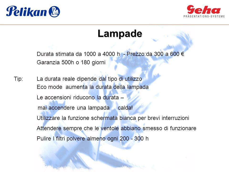 Durata stimata da 1000 a 4000 h - Prezzo:da 300 a 600 € Garanzia 500h o 180 giorni Tip:La durata reale dipende dal tipo di utilizzo Eco mode aumenta l