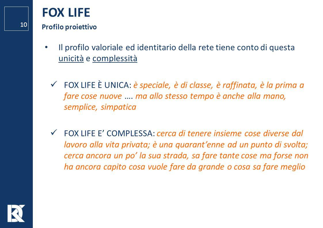 FOX LIFE Profilo proiettivo 10 Il profilo valoriale ed identitario della rete tiene conto di questa unicità e complessità FOX LIFE È UNICA: è speciale
