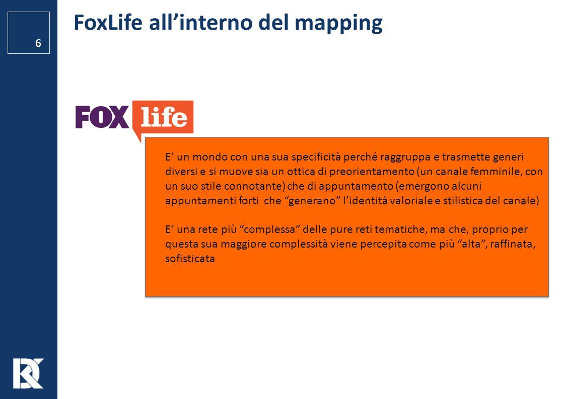 FoxLife all'interno del mapping 6 E' un mondo con una sua specificità perché raggruppa e trasmette generi diversi e si muove sia un ottica di preorien