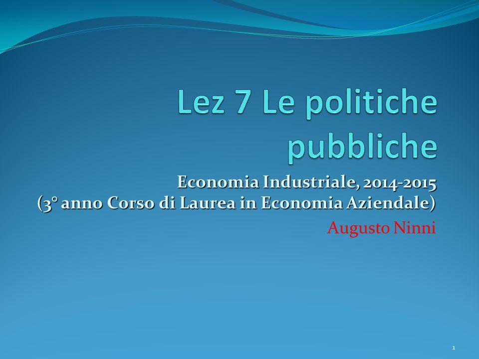 Economia Industriale, 2014-2015 (3° anno Corso di Laurea in Economia Aziendale) Augusto Ninni 1