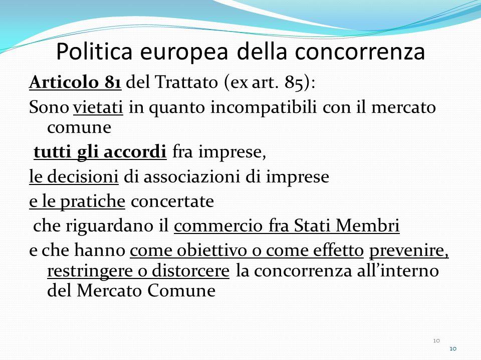 10 Politica europea della concorrenza Articolo 81 del Trattato (ex art.