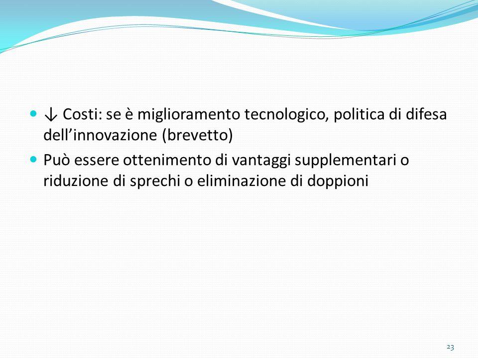 ↓ Costi: se è miglioramento tecnologico, politica di difesa dell'innovazione (brevetto) Può essere ottenimento di vantaggi supplementari o riduzione di sprechi o eliminazione di doppioni 23
