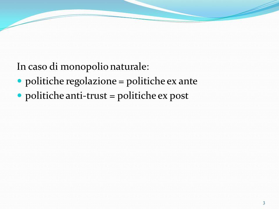 In caso di monopolio naturale: politiche regolazione = politiche ex ante politiche anti-trust = politiche ex post 3