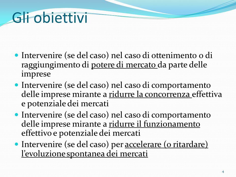 Gli obiettivi Intervenire (se del caso) nel caso di ottenimento o di raggiungimento di potere di mercato da parte delle imprese Intervenire (se del caso) nel caso di comportamento delle imprese mirante a ridurre la concorrenza effettiva e potenziale dei mercati Intervenire (se del caso) nel caso di comportamento delle imprese mirante a ridurre il funzionamento effettivo e potenziale dei mercati Intervenire (se del caso) per accelerare (o ritardare) l'evoluzione spontanea dei mercati 4