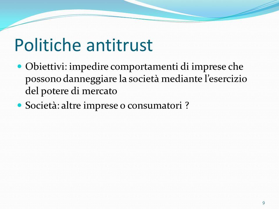 Politiche antitrust Obiettivi: impedire comportamenti di imprese che possono danneggiare la società mediante l'esercizio del potere di mercato Società: altre imprese o consumatori .