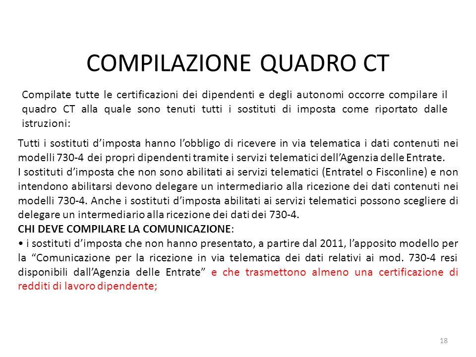 COMPILAZIONE QUADRO CT 18 Compilate tutte le certificazioni dei dipendenti e degli autonomi occorre compilare il quadro CT alla quale sono tenuti tutt