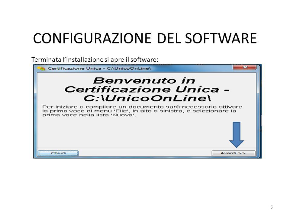 CONFIGURAZIONE DEL SOFTWARE Scegliere la tipologia: Proseguire con la configurazione del software 7