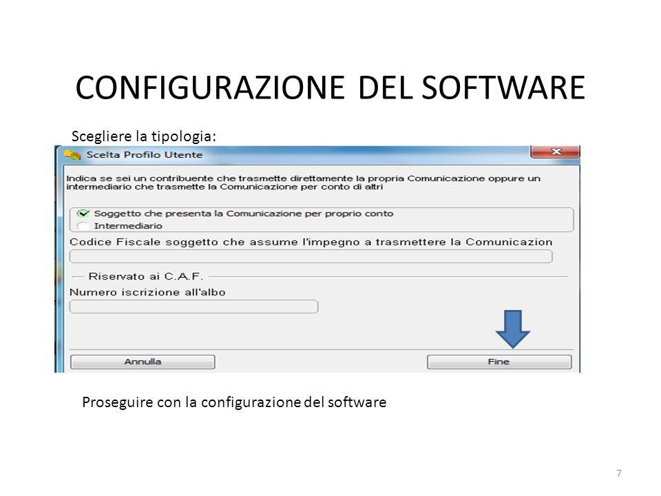 CONFIGURAZIONE DEL SOFTWARE Tra le varie domande proposte dal software prestare attenzione alla tipologia della comunicazione: Terminata la configurazione è necessario compilare il frontespizio: 8
