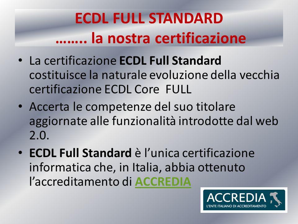 ECDL FULL STANDARD …….. la nostra certificazione La certificazione ECDL Full Standard costituisce la naturale evoluzione della vecchia certificazione