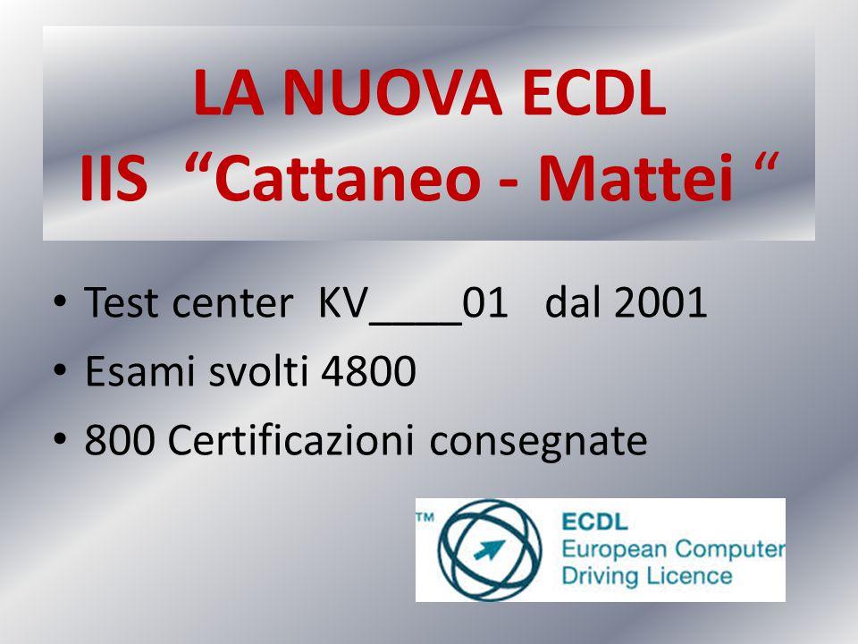 """LA NUOVA ECDL IIS """"Cattaneo - Mattei """" Test center KV____01 dal 2001 Esami svolti 4800 800 Certificazioni consegnate"""