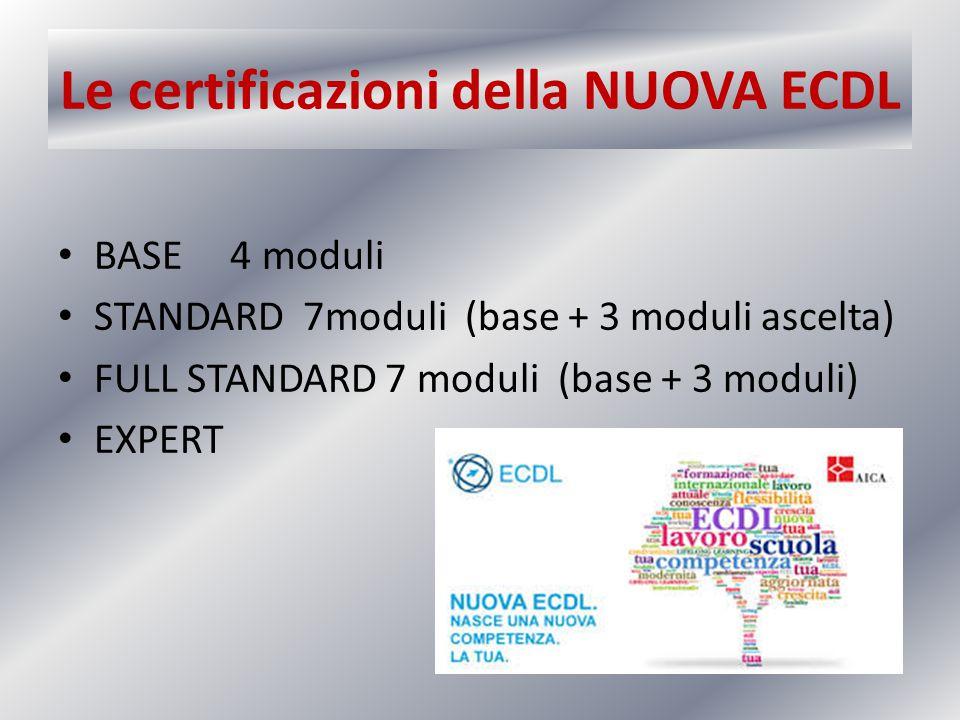 Le certificazioni della NUOVA ECDL BASE 4 moduli STANDARD 7moduli (base + 3 moduli ascelta) FULL STANDARD 7 moduli (base + 3 moduli) EXPERT