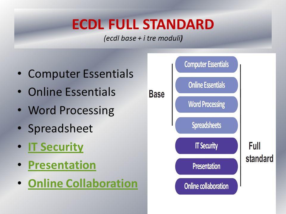 ECDL EXPERT (3 dei 4 moduli seguenti) Advanced Word Processing Advanced Spreadsheet Advanced Database Advanced Presentation