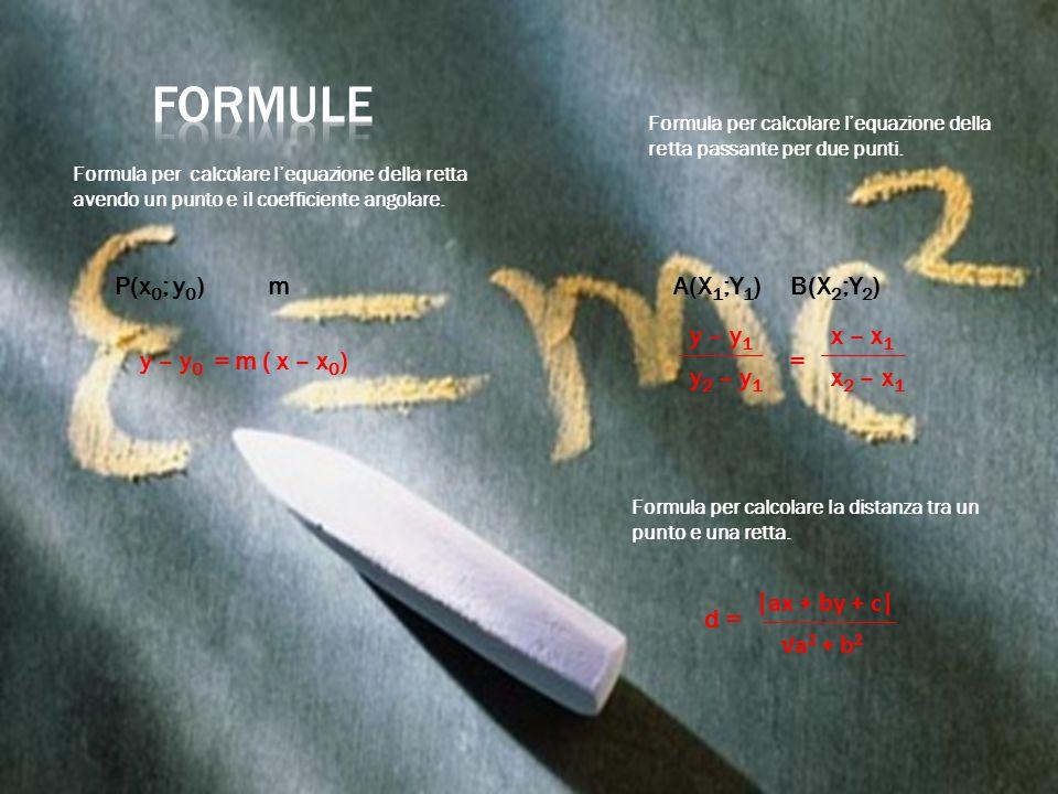 y – y 0 = m ( x – x 0 ) Formula per calcolare l'equazione della retta avendo un punto e il coefficiente angolare. Formula per calcolare l'equazione de
