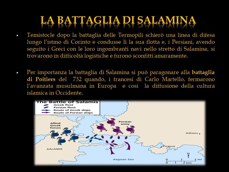  Temistocle dopo la battaglia delle Termopili schierò una linea di difesa lungo l'istmo di Corinto e condusse lì la sua flotta e, i Persiani, avendo