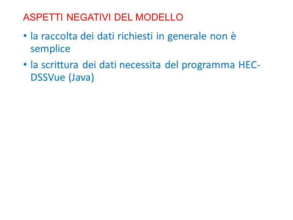 ASPETTI NEGATIVI DEL MODELLO la raccolta dei dati richiesti in generale non è semplice la scrittura dei dati necessita del programma HEC- DSSVue (Java)