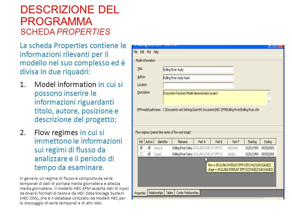 DESCRIZIONE DEL PROGRAMMA SCHEDA PROPERTIES La scheda Properties contiene le informazioni rilevanti per il modello nel suo complesso ed è divisa in du