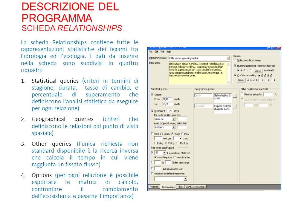 DESCRIZIONE DEL PROGRAMMA SCHEDA RELATIONSHIPS La scheda Relationships contiene tutte le rappresentazioni statistiche dei legami tra l idrologia ed l ecologia.