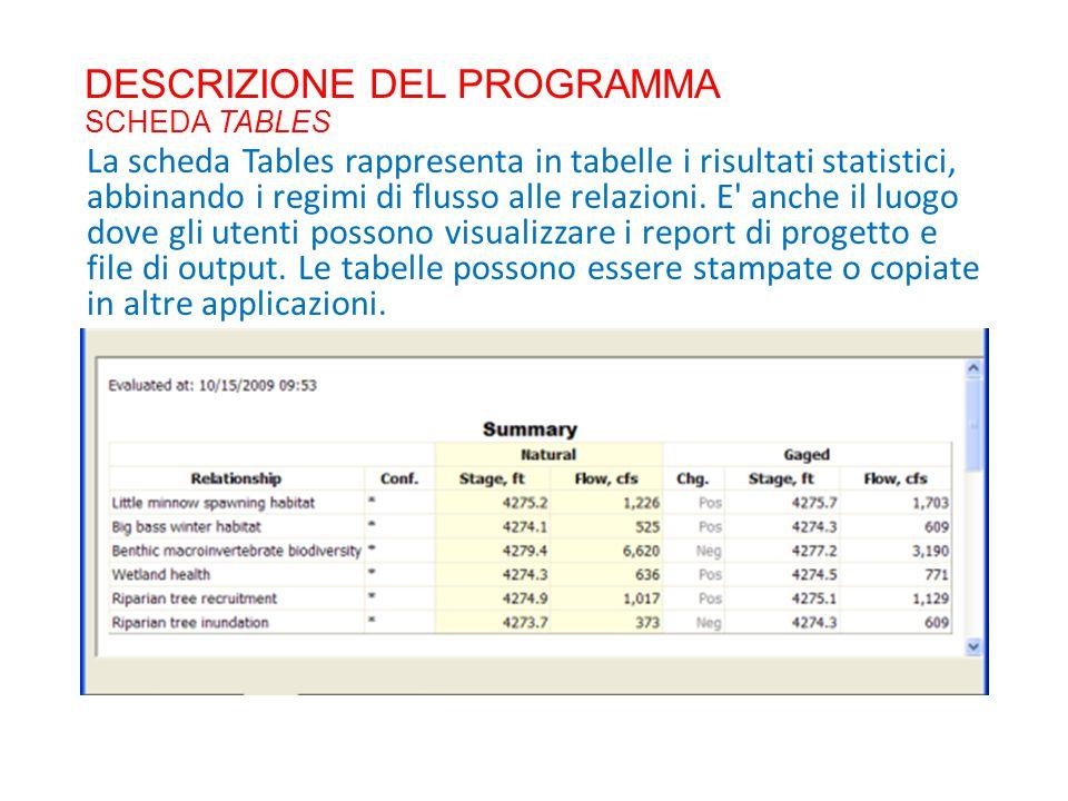 DESCRIZIONE DEL PROGRAMMA SCHEDA TABLES La scheda Tables rappresenta in tabelle i risultati statistici, abbinando i regimi di flusso alle relazioni. E