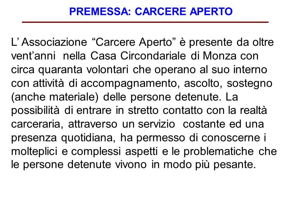 """PREMESSA: CARCERE APERTO L' Associazione """"Carcere Aperto"""" è presente da oltre vent'anni nella Casa Circondariale di Monza con circa quaranta volontari"""