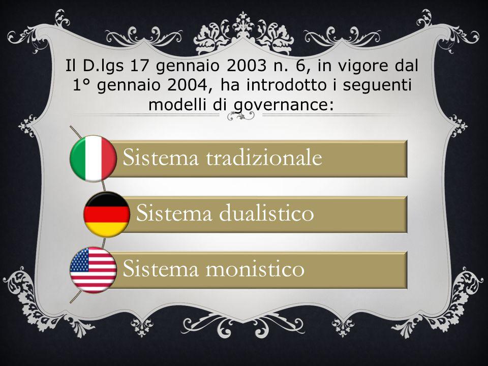 Sistema tradizionale Sistema dualistico Sistema monistico Il D.lgs 17 gennaio 2003 n. 6, in vigore dal 1° gennaio 2004, ha introdotto i seguenti model