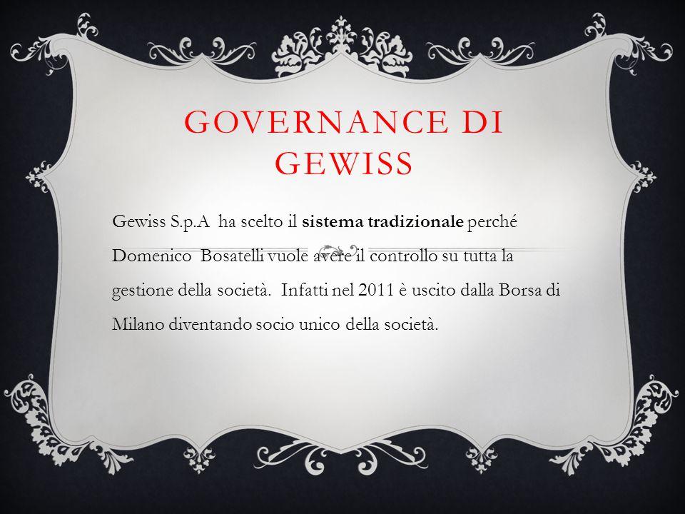GOVERNANCE DI GEWISS Gewiss S.p.A ha scelto il sistema tradizionale perché Domenico Bosatelli vuole avere il controllo su tutta la gestione della soci