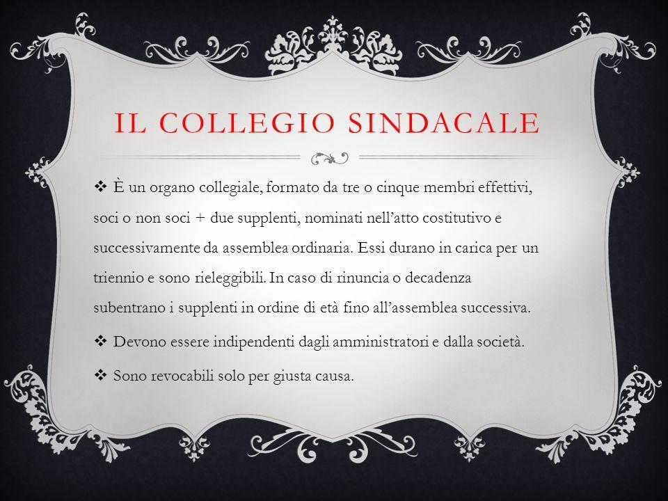 IL COLLEGIO SINDACALE  È un organo collegiale, formato da tre o cinque membri effettivi, soci o non soci + due supplenti, nominati nell'atto costitut
