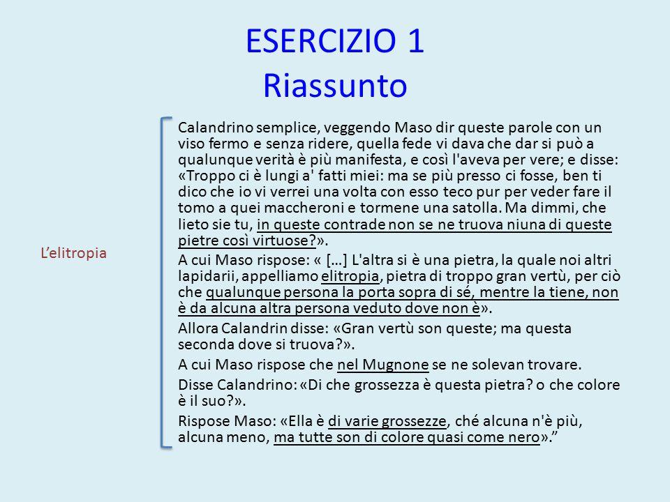 ESERCIZIO 1 Riassunto ESEMPIO DI RIASSUNTO La regina dell'ottava giornata, dopo aver ascoltato la divertente novella di Panfilo, passa la parola a Elissa.