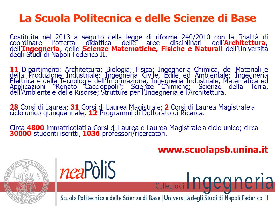 Siti web di riferimento www.scuolapsb.unina.it