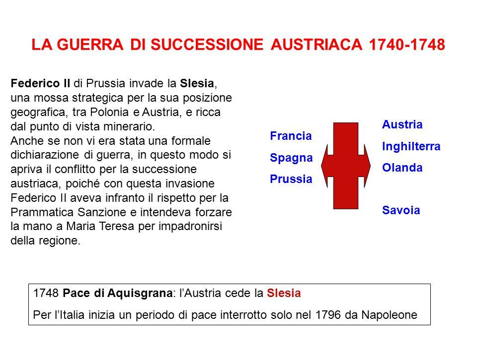 LA GUERRA DI SUCCESSIONE AUSTRIACA 1740-1748 Federico II di Prussia invade la Slesia, una mossa strategica per la sua posizione geografica, tra Poloni