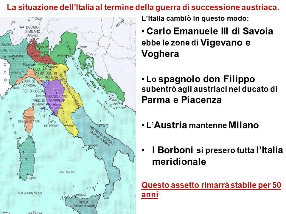 La situazione dell'Italia al termine della guerra di successione austriaca. L'Italia cambiò in questo modo: Carlo Emanuele III di Savoia ebbe le zone