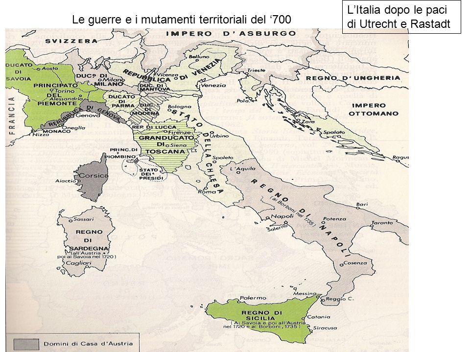 Le guerre e i mutamenti territoriali del '700 L'Italia dopo le paci di Utrecht e Rastadt