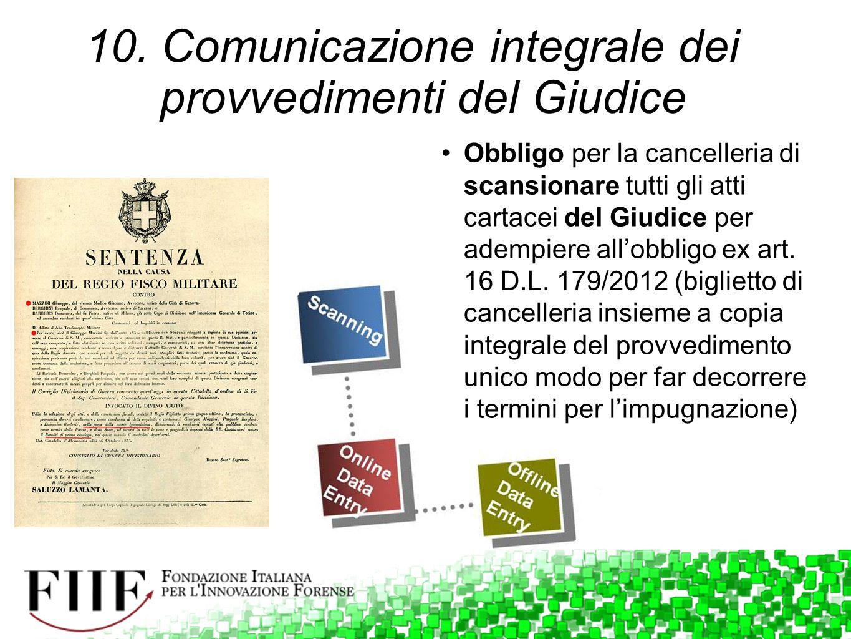 Obbligo per la cancelleria di scansionare tutti gli atti cartacei del Giudice per adempiere all'obbligo ex art. 16 D.L. 179/2012 (biglietto di cancell